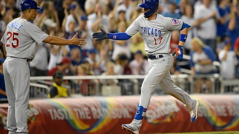 <p>               Chicago Cubs' Kris Bryant (17) is greeted by third base coach Will Venable (25) after hitting a home run during the eighth inning of a baseball game against the Washington Nationals, Friday, May 17, 2019, in Washington. (AP Photo/Nick Wass)             </p>