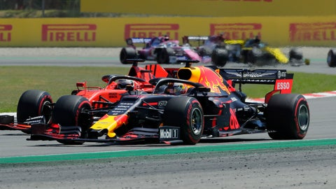<p>               Red Bull driver Max Verstappen of the Netherland's overtakes Ferrari driver Sebastian Vettel of Germany during the Spanish Formula One race at the Barcelona Catalunya racetrack in Montmelo, just outside Barcelona, Spain, Sunday, May 12, 2019. (AP Photo/Manu Fernandez)             </p>