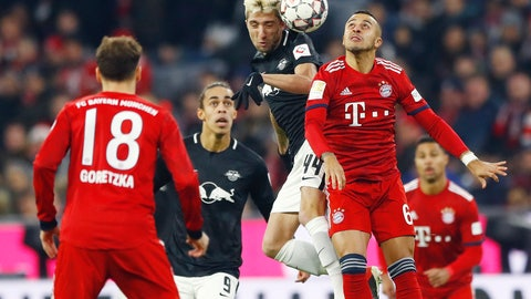 <p>               File---Picture taken Dec.19, 2018 shows Leipzig's Kevin Kampl, left, and Bayern's Thiago challenging for there ball during the German Bundesliga soccer match between FC Bayern Munich and RB Leipzig in Munich, Germany. (AP Photo/Matthias Schrader)             </p>