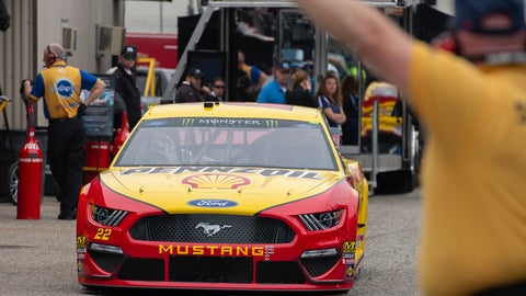 <p>               Joey Logano pulls into the garage area during practice for the NASCAR Cup Series auto race, Saturday, May 4, 2019, at Dover International Speedway in Dover, Del. (AP Photo/Jason Minto)             </p>