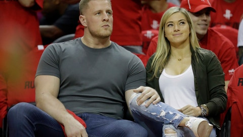 <p>               FILE - In this April 16, 2019 photo, Houston Texans' J.J. Watt, left, and his girlfriend, professional soccer player Kealia Ohai attend Game 1 of an NBA basketball first-round playoff series between the Oklahoma City Thunder and Houston Rockets in Houston. Both tweeted word of their engagement Sunday, May 26, 2019, with photos showing Watt down on one knee before Ohai along a waterfront and rocky coast with a beautiful sunset. (AP Photo/David J. Phillip, File)             </p>