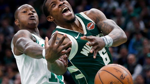 <p>               Milwaukee Bucks' Eric Bledsoe (6) loses control of the ball against Boston Celtics' Terry Rozier, left, during the first half of Game 4 of a second-round NBA basketball playoff series in Boston, Monday, May 6, 2019. (AP Photo/Michael Dwyer)             </p>