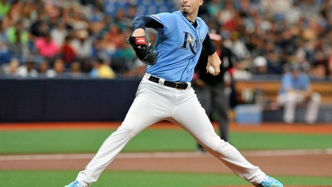 <p>               Tampa Bay Rays starter Blake Snell pitches against the New York Yankees during the first inning of a baseball game Sunday, May 12, 2019, in St. Petersburg, Fla. (AP Photo/Steve Nesius)             </p>