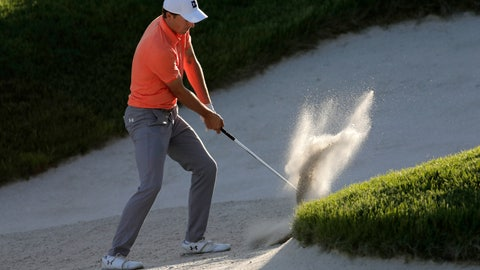 <p>               Jordan Spieth hits out of a bunker on the 15th hole during the third round of the PGA Championship golf tournament, Saturday, May 18, 2019, at Bethpage Black in Farmingdale, N.Y. (AP Photo/Julio Cortez)             </p>