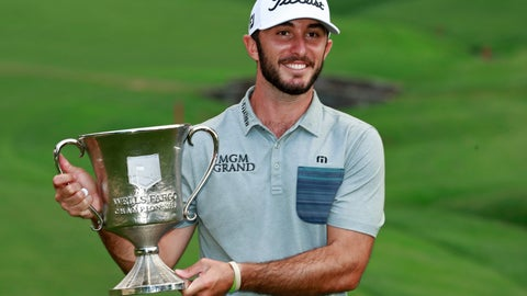 <p>               Max Homa poses with the trophy after winning the Wells Fargo Championship golf tournament at Quail Hollow Club in Charlotte, N.C., Sunday, May 5, 2019. (AP Photo/Jason E. Miczek)             </p>