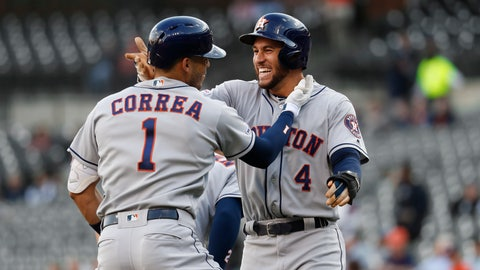 <p>               Houston Astros' Carlos Correa (1) celebrates his three-run home run with George Springer (4) during the first inning of the team's baseball game against the Detroit Tigers in Detroit, Tuesday, May 14, 2019. (AP Photo/Paul Sancya)             </p>