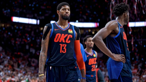 <p>               Oklahoma City Thunder forward Paul George, left, and forward Jerami Grant walk off the court after losing to the Portland Trail Blazers in Game 5 of an NBA basketball first-round playoff series, Tuesday, April 23, 2019, in Portland, Ore. The Trail Blazers won 118-115. (AP Photo/Craig Mitchelldyer)             </p>