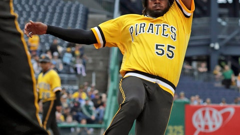<p>               Pittsburgh Pirates' Josh Bell (55) scores after tagging up at third on a sacrifice to right field by Colin Moran off Oakland Athletics starting pitcher Frankie Montas during the second inning of a baseball game in Pittsburgh, Sunday, May 5, 2019. (AP Photo/Gene J. Puskar)             </p>