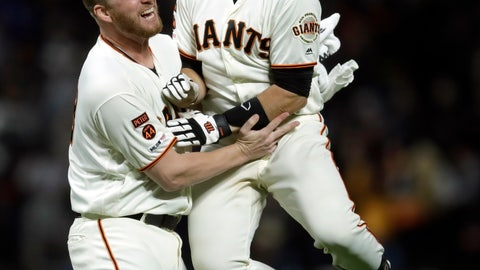 <p>               San Francisco Giants' Buster Posey, right, celebrates with Will Smith after Posey's game-ending single off Los Angeles Dodgers' Pedro Baez during the ninth inning of a baseball game Wednesday, May 1, 2019, in San Francisco. The Giants won 2-1. (AP Photo/Ben Margot)             </p>