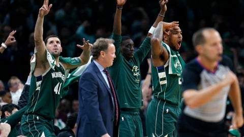 <p>               The Milwaukee Bucks bench reacts to a three-point basket during the second half of Game 4 of a second round NBA basketball playoff series against the Boston Celtics in Boston, Monday, May 6, 2019. (AP Photo/Michael Dwyer)             </p>