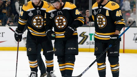 <p>               Boston Bruins' Matt Grzelcyk, center, is assisted from the ice by Jake DeBrusk, left, and David Krejci, right, after an injury during the first period in Game 2 of the NHL hockey Stanley Cup Final against the St. Louis Blues, Wednesday, May 29, 2019, in Boston. (AP Photo/Michael Dwyer)             </p>