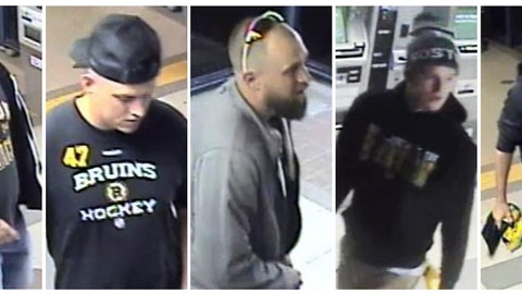 <p>               This panel of still images released through the Massachusetts Bay Transit Authority police website from Friday, May 10, 2019, surveillance video shows five suspects, some wearing Boston Bruins clothing, sought in connection to an assault where the victim suffered facial fractures at an MBTA station in Quincy, Mass., shortly after the Bruins beat the Carolina Hurricanes in a home playoff game. Transit police announced Wednesday, May 15, that based on numerous tips from the public, four had turned themselves in. (MBTA Transit Police via AP)             </p>