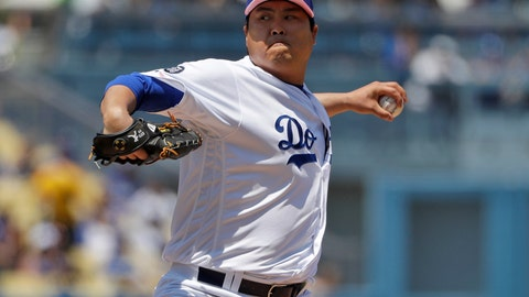 <p>               Los Angeles Dodgers starting pitcher Hyun-Jin Ryu throws to the Washington Nationals during the first inning of a baseball game Sunday, May 12, 2019, in Los Angeles. (AP Photo/Marcio Jose Sanchez)             </p>