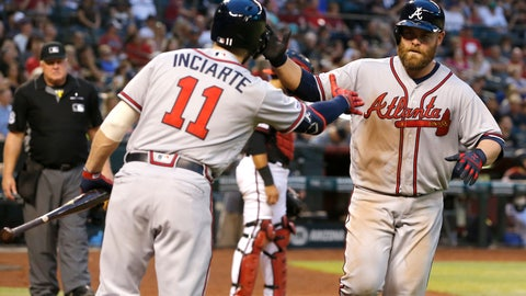 <p>               Atlanta Braves' Brian McCann, right, celebrates with Ender Inciarte (11) after hitting a solo home run against the Arizona Diamondbacks in the seventh inning during a baseball game, Saturday, May 11, 2019, in Phoenix. (AP Photo/Rick Scuteri)             </p>