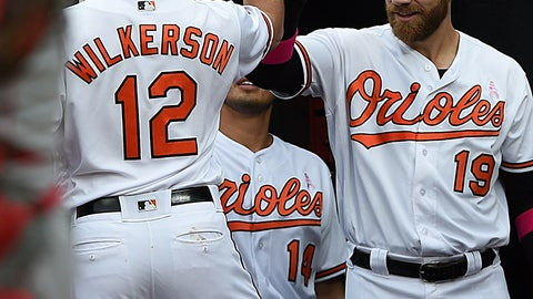 <p>               Baltimore Orioles' Stevie Wilkerson, left, is congratulated by Chris Davis after Wilkersons' solo home run against the Los Angeles Angels in the second inning of a baseball game, Sunday, May 12, 2019, in Baltimore. Davis also had a home run in the second inning. (AP Photo/Gail Burton)             </p>