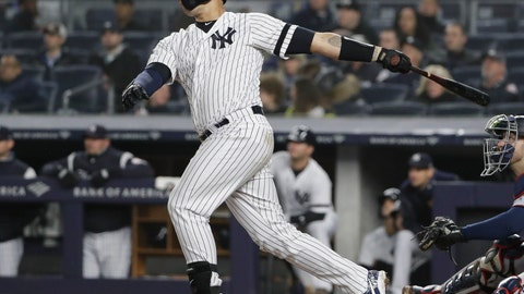 <p>               New York Yankees' Gary Sanchez follows through on a home run during the seventh inning of the team's baseball game against the Minnesota Twins on Friday, May 3, 2019, in New York. (AP Photo/Frank Franklin II)             </p>
