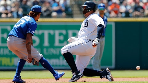 <p>               Detroit Tigers' Miguel Cabrera beats the throw to Kansas City Royals second baseman Adalberto Mondesi for a double during the first inning of a baseball game, Sunday, May 5, 2019, in Detroit. (AP Photo/Carlos Osorio)             </p>