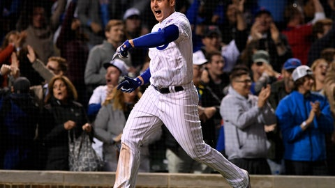 <p>               Chicago Cubs' Anthony Rizzo celebrates after Jason Heyward hit a game-winning solo home run in the 11th inning of a baseball game against the Miami Marlins on Wednesday, May 8, 2019, in Chicago. The Cubs won 3-2(AP Photo/Paul Beaty)             </p>