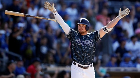 <p>               San Diego Padres' Hunter Renfroe reacts after hitting a walkoff grand slam during the ninth inning of a baseball game against the Los Angeles Dodgers, Sunday, May 5, 2019, in San Diego. (AP Photo/Gregory Bull)             </p>