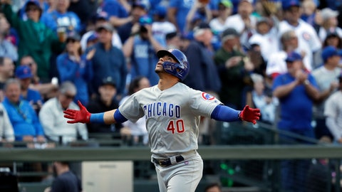 <p>               Chicago Cubs' Willson Contreras spreads his arms wide as he heads home on his solo home run against the Seattle Mariners in the fourth inning of a baseball game Wednesday, May 1, 2019, in Seattle. (AP Photo/Elaine Thompson)             </p>