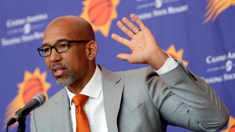 <p>               Phoenix Suns new NBA basketball head coach Monty Williams speaks at a news conference, Tuesday, May 21, 2019, in Phoenix. (AP Photo/Matt York)             </p>