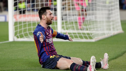 <p>               Barcelona's Lionel Messi celebrates after scoring his side's third goal during the Champions League semifinal, first leg, soccer match between FC Barcelona and Liverpool at the Camp Nou stadium in Barcelona, Spain, Wednesday, May 1, 2019. (AP Photo/Emilio Morenatti)             </p>