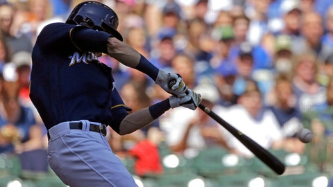 <p>               Milwaukee Brewers' Christian Yelich hits a two-run home run during the third inning of a baseball game against the New York Mets Sunday, May 5, 2019, in Milwaukee. (AP Photo/Aaron Gash)             </p>