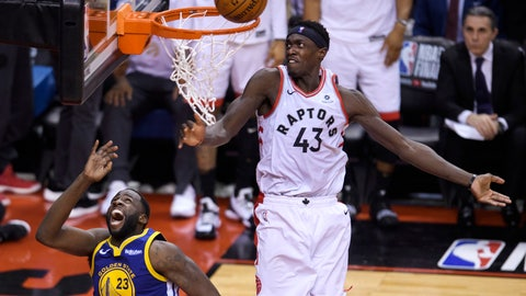<p>               Toronto Raptors forward Pascal Siakam (43) blocks a shot by Golden State Warriors forward Draymond Green (23) during the second half of Game 1 of basketball's NBA Finals, Thursday, May 30, 2019, in Toronto. (Nathan Denette/The Canadian Press via AP)             </p>