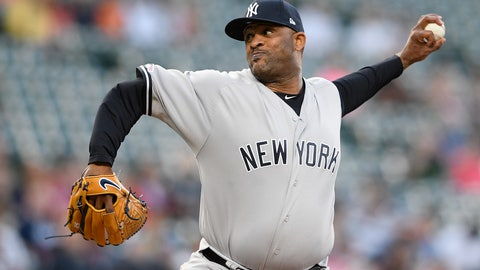 <p>               New York Yankees' CC Sabathia pitches during the first inning of the team's baseball game against the Baltimore Orioles, Wednesday, May 22, 2019, in Baltimore. (AP Photo/Nick Wass)             </p>