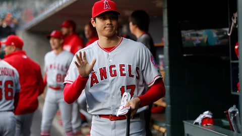 <p>               Los Angeles Angels' Shohei Ohtani waves before the team's baseball game against the Detroit Tigers in Detroit, Tuesday, May 7, 2019. (AP Photo/Paul Sancya)             </p>