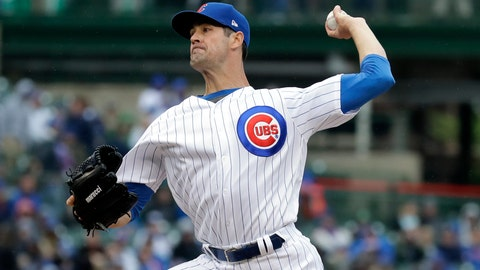 <p>               Chicago Cubs starting pitcher Cole Hamels throws against the Milwaukee Brewers during the first inning of a baseball game Saturday, May 11, 2019, in Chicago. (AP Photo/Nam Y. Huh)             </p>