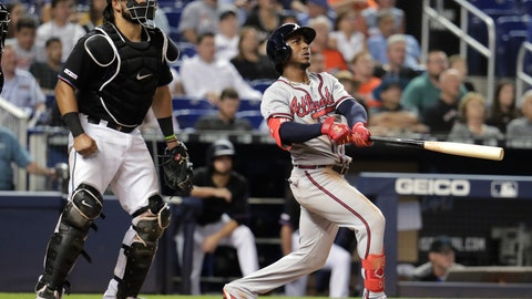 <p>               Atlanta Braves' Ozzie Albies, right, watches his grand slam during the sixth inning of the team's baseball game against the Miami Marlins, Saturday, May 4, 2019, in Miami. At left is Marlins catcher Jorge Alfaro. (AP Photo/Lynne Sladky)             </p>