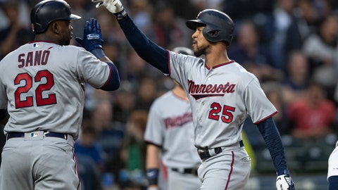 <p>               Minnesota Twins' Byron Buxton, right, is congratulated by Miguel Sano after hitting a three-run home run off of starting pitcher Erik Swanson that scored Sano and Jason Castro during the fourth inning of a baseball game, Thursday, May 16, 2019, in Seattle. (AP Photo/Stephen Brashear)             </p>