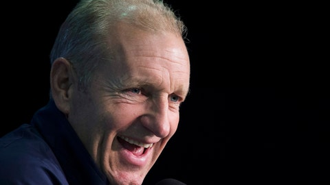 <p>               FILE - In this Sept. 28, 2016, file photo, Europe coach Ralph Krueger speaks during a news conference at the World Cup of Hockey in Toronto. A person familiar with the decision tells The Associated Press that the Buffalo Sabres have hired Krueger to become their next head coach. The person spoke to the AP on the condition of anonymity Tuesday night, May 14, 2019, because the team has not announced the hiring. (Nathan Denette/The Canadian Press via AP, File)             </p>