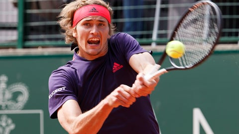<p>               Alexander Zverev, of Germany, returns a ball to Federico Delbonis, of Argentina, during their semi final match, at the ATP 250 Geneva Open tournament in Geneva, Switzerland, Friday, May 24, 2019. (Salvatore Di Nolfi/Keystone via AP)             </p>
