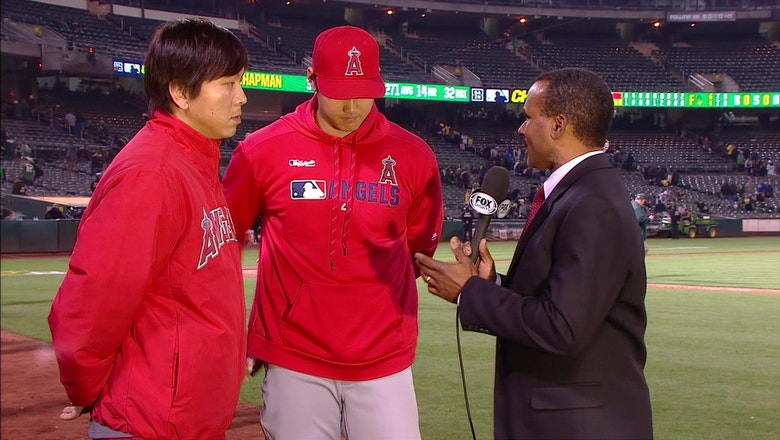 Ohtani on his game-winning 2 run single that advanced Angel's 6-4 over A's