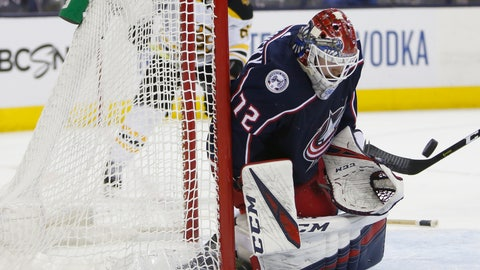 <p>               Columbus Blue Jackets' Sergei Bobrovsky, of Russia, makes a save against the Boston Bruins during the third period of Game 3 of an NHL hockey second-round playoff series Tuesday, April 30, 2019, in Columbus, Ohio. The Blue Jackets beat the Bruins 2-1. (AP Photo/Jay LaPrete)             </p>