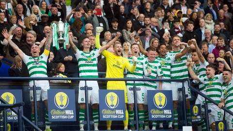 <p>               Celtic's Scott Brown, left, and Mikael Lustig celebrate with the trophy after winning the Scottish Cup Final at Hampden Park, Glasgow, Scotland, Saturday, May 25, 2019. Celtic wrapped up a domestic treble for an unprecedented third straight season after beating Hearts 2-1 in the Scottish Cup Final on Saturday. Having already won the Scottish League Cup and league titles, Celtic rallied at Hampden Park with a brace from striker Odsonne Edouard. (Jeff Holmes/PA via AP)             </p>