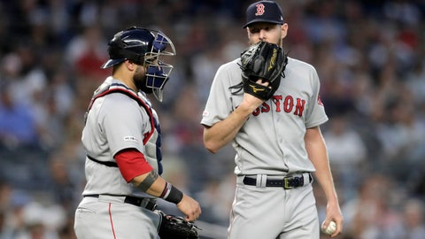 <p>               Boston Red Sox starting pitcher Chris Sale, right, talks to catcher Sandy Leon during the fourth inning of the team's baseball game against the New York Yankees, Friday, May 31, 2019, in New York. (AP Photo/Julio Cortez)             </p>