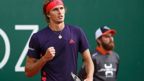 <p>               Alexander Zverev of Germany celebrates defeating Ernests Gulbis of Latvia during their second round match at the ATP 250 Geneva Open tournament in Geneva, Switzerland, Tuesday, May 21, 2019. (Salvatore Di Nolfi/Keystone via AP)             </p>