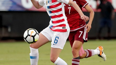<p>               FILE - In this April 5, 2018, file photo, United States' Morgan Brian (6) controls the ball in front of Mexico's Cristina Ferral (7) during the first half of an international friendly soccer match, in Jacksonville, Fla. Defender Ali Krieger and midfielders Allie Long and Morgan Brian have been included on the U.S. national team roster for the Women's World Cup in France. All three were widely considered on the bubble for the 23-player roster announced Thursday, May 2, 2019, by coach Jill Ellis. The United States is the defending champion of soccer's premier tournament, which starts on June 7. (AP Photo/John Raoux, File)             </p>
