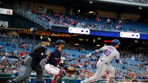 <p>               New York Mets' Wilson Ramos, right, watches his grand slam in front of Washington Nationals catcher Yan Gomes and home plate umpire Jeff Nelson during the first inning of a baseball game Tuesday, May 14, 2019, in Washington. (AP Photo/Patrick Semansky)             </p>