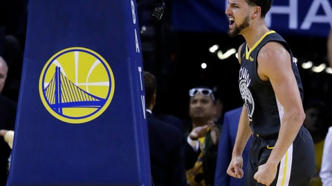 <p>               Golden State Warriors' Klay Thompson reacts after scoring against the Houston Rockets during the first half of Game 2 of a second-round NBA basketball playoff series in Oakland, Calif., Tuesday, April 30, 2019. (AP Photo/Jeff Chiu)             </p>