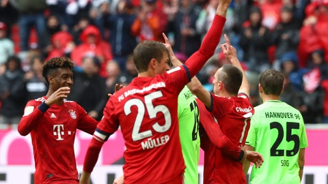 <p>               Bayern's Franck Ribery, second right, celebrates with his teammates after scoring his side's third goal during the German Bundesliga soccer match between FC Bayern Munich and Hannover 96 in Munich, Germany, Saturday, May 4, 2019. (AP Photo/Matthias Schrader)             </p>