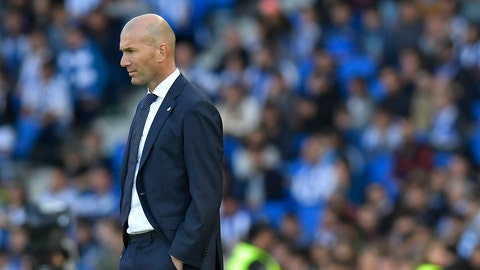 <p>               Real Madrid's head manager Zinedine Zidane stands on the touchline during the Spanish La Liga soccer match between Real Sociedad and Real Madrid, at Anoeta stadium, in San Sebastian, northern Spain, Sunday, May 12, 2019. (AP Photo/Alvaro Barrientos)             </p>