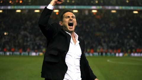 <p>               Derby County manager Frank Lampard celebrates victory after the English Championship Play-Off, Semi Final, Second Leg soccer match against Leeds United at Elland Road, Leeds, England, Wednesday May 15, 2019. (Nick Potts/PA via AP)             </p>