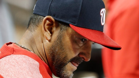 <p>               Washington Nationals manager Dave Martinez reacts in the dugout during the eighth inning of the team's 6-1 loss to the New York Mets in a baseball game Wednesday, May 22, 2019, in New York. (AP Photo/Kathy Willens)             </p>
