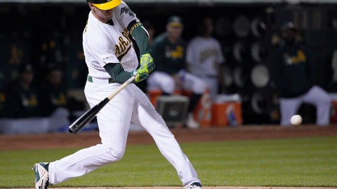 <p>               Oakland Athletics' Stephen Piscotty hits a single to drive in two runs against the Cincinnati Reds during the fifth inning of a baseball game Wednesday, May 8, 2019, in Oakland, Calif. (AP Photo/Tony Avelar)             </p>