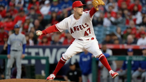 <p>               Los Angeles Angels starting pitcher Griffin Canning throws to a Toronto Blue Jays batter during the first inning of a baseball game in Anaheim, Calif., Tuesday, April 30, 2019. (AP Photo/Chris Carlson)             </p>