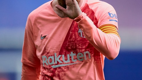 <p>               Barcelona's Lionel Messi during a Spanish La Liga soccer match against Eibar at the Ipurua stadium in Eibar, northern Spain, Sunday, May 19, 2019. (AP Photo/Ion Alcoba)             </p>